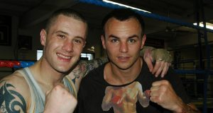 Kevin Mitchell and his former opponent, Ricky Burns. Photo Credit: Credit: Gianluca Rio Di Caro