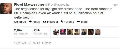 mayweather tweet