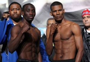 Terrence Crawford (left) at the Crawford vs. Prescott weigh-in