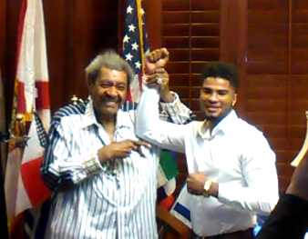 Anthony Sims Jr with his former promoter, Don King. Photo Credit: Don King