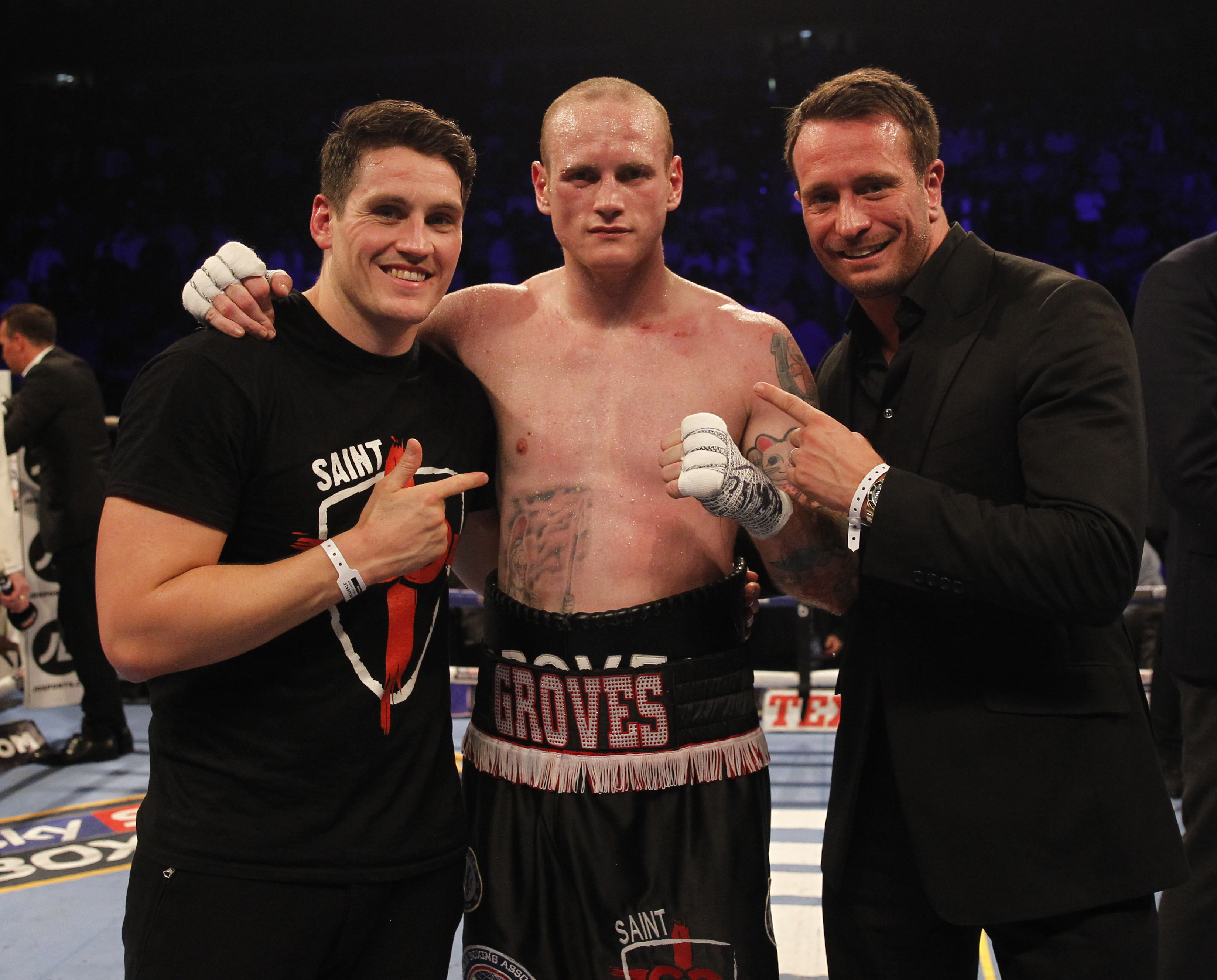 George Groves with trainer Shane McGuigan and Kalle Sauerland