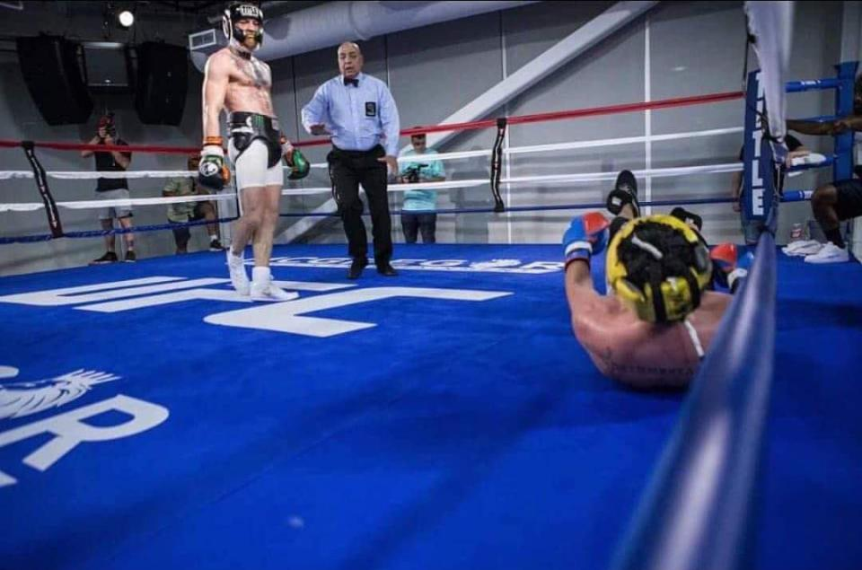 The photo from the Conor McGregor sparring session that shows Paulie Malignaggi on the canvas which is fair to say Malignaggi doesn't like.