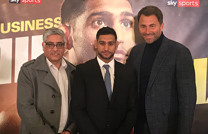 Amir Khan (center), with his Dad (left) & Eddie Hearn (right) at the Dorchester Hotel, London for his Press Conference announcing 3-fight deal with MatchRoom Boxing.