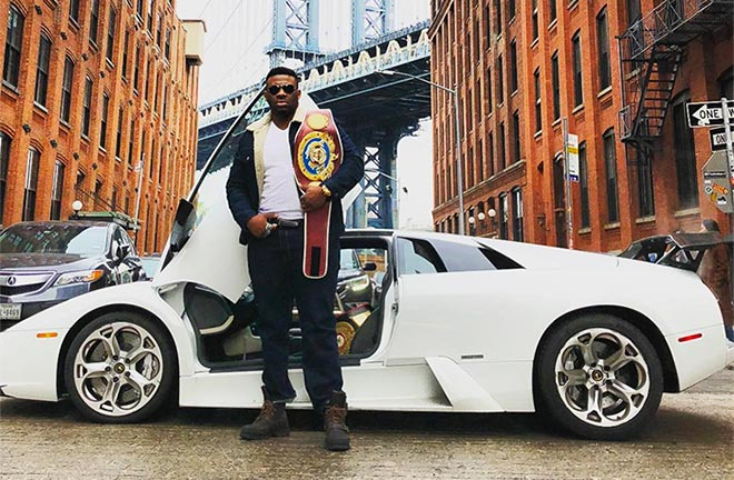 Jarrell Miller with his WBO NABO Heavyweight Title. Photo Credit: Jarrell Miller Instagram
