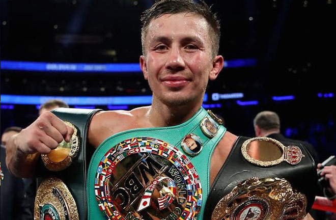 Gennady Golovkin (GGG) holding his Title belts