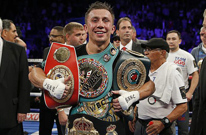 Gennady Golovkin with his WBC Tiltles