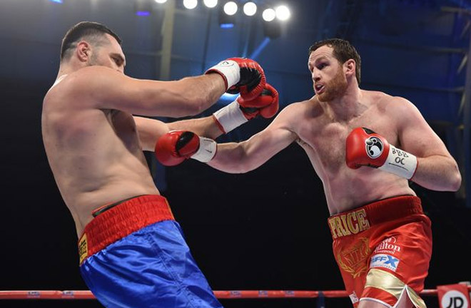 Price in action against Christian Hammer. Photo Credit: Liverpool Echo