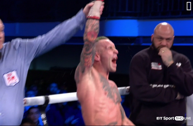 Ronnie Clark celebrates his victory by decision over Zelfa Barrett on Saturday night at York Hall.
