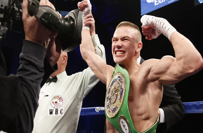 Ivan Baranchyk winning his WBC belt. Photo credit: Bad left hook