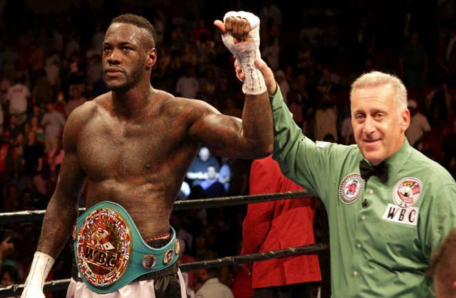Deontay Wilder with his WBC title. Photo credit: betfair.com