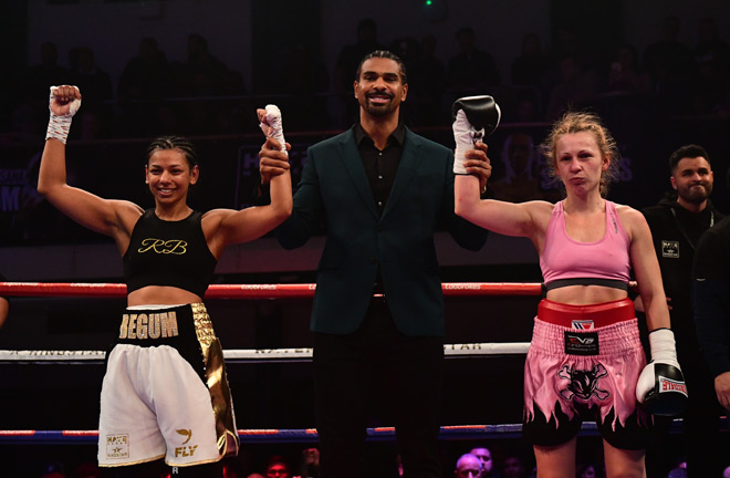 Ruqsana Begum celebrating her draw against Bulgarian, Ivanka Ivanova with Promoter David Haye