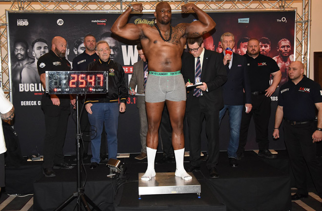 Dillian Weight weighing in at 254.7 lbs ahead of his crunch match against Australian Lucas Browne. Photo Credit: Chris Dean.