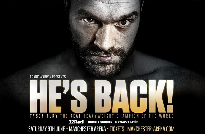 Tyson Fury announced his return to the ring last week with Frank Warren Promotions. Photo Credit: Frank Warren Boxing