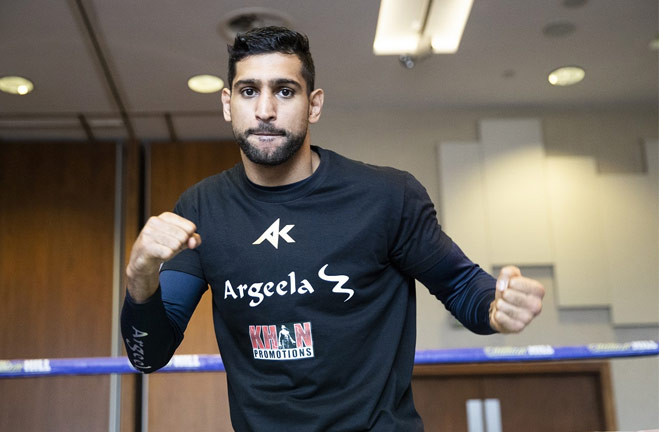 Amir Khan in good spirits ahead of his comeback this Saturday. Photo Credit: Mark Robinson