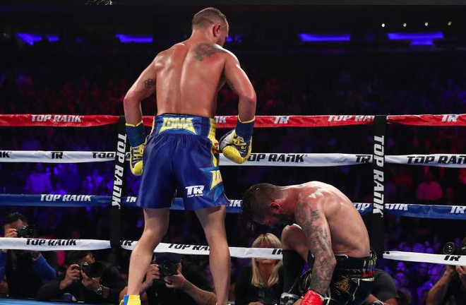Lomachenko sends Linares hitting the canvas in round 10 with a vicious flurry of punches.
