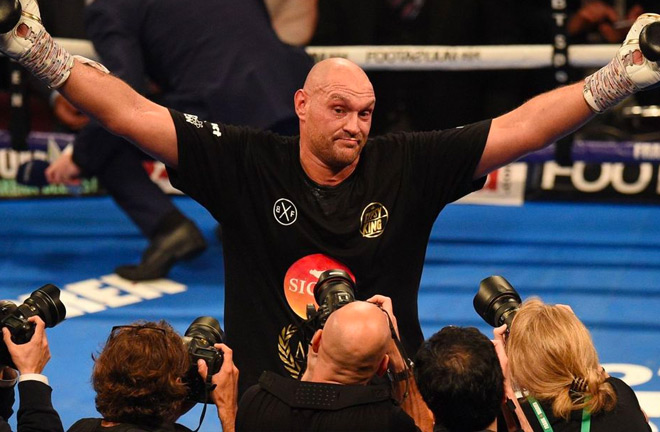 Tyson Fury won his first fight in two and a half years after four rounds. Photo Credit: Sky News.