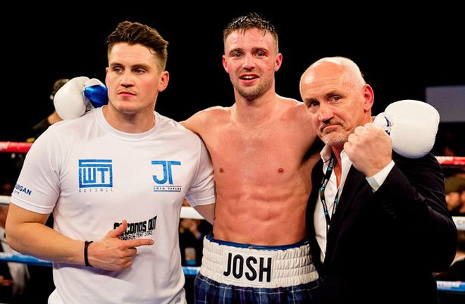 Josh Taylor with trainer Shane and manager Barry McGuigan. Photo Credit: Daily Record