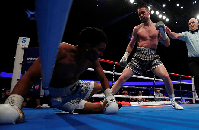 Josh Taylor finishes Winston Campos in three rounds. Photo Credit: Boxing News