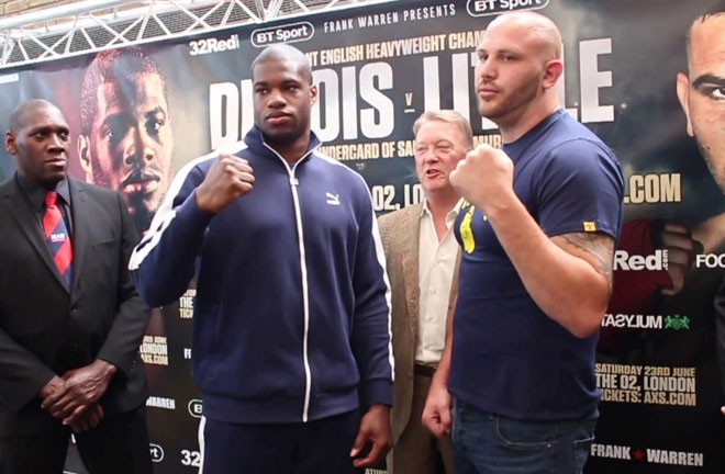Dubois and Little face off ahead of their fight this Saturday. Photo Credit: YouTube