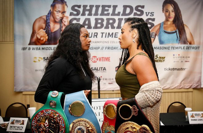 Shields-Gabriels face off ahead of their fight this Friday. Photo Credit: Boxing Scene