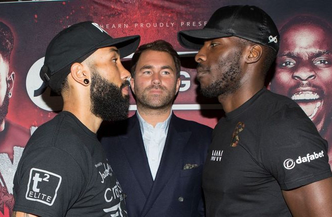 Lawrence Okolie and Luke Watkins went face to face for the first time on Monday. Photo Credit: Sky Sports
