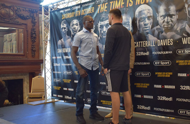 Catterall and Davies face off ahead of their fight on October 6.