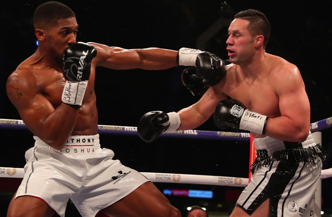 Joshua in his last fight in Cardiff, UK back in March 2018 against Joseph Parker. Photo Credit: Sky Sports.
