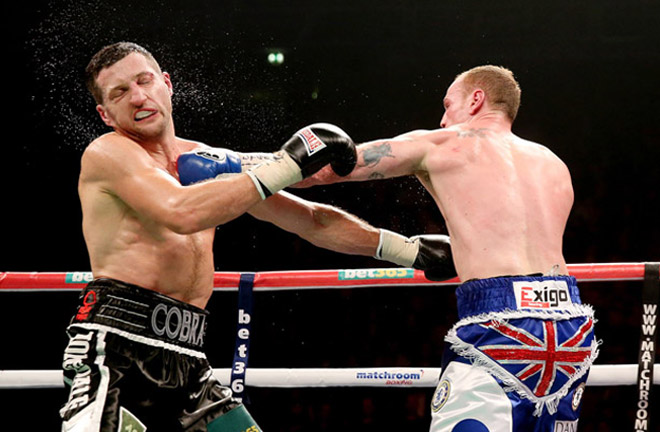 Groves put Froch down in their first fight in Manchester. Photo Credit: The Ring Magazine