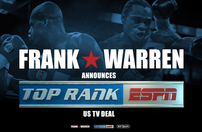 Top Rank and Frank Warren Promotions are proud to announce an exclusive, landmark multi-year licensing agreement. Photo Credit: HitHardNews
