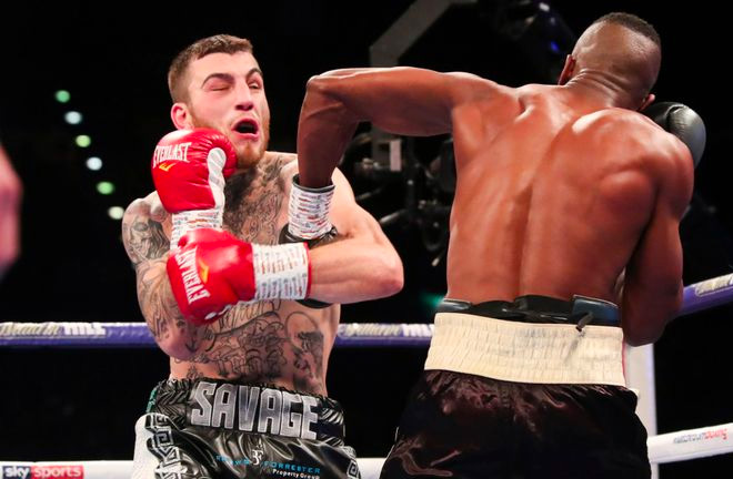 Hassan Mwakinyo stunned Sam Eggington by stopping him in two rounds as the shock of the night on the Amir Khan undercard. Photo Credit: Sky Sports.