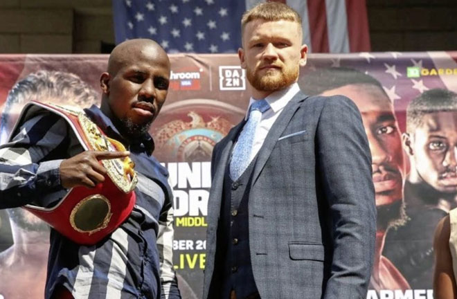 Farmer-Tennyson face off ahead of their fight this Saturday. Photo Credit: Irish News