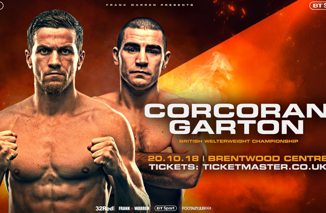 Corcoran-Garton fight this weekend in Brentwood, Essex. Photo Credit: East Side Boxing