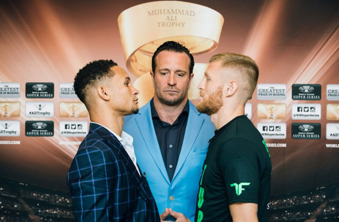 Regis Prograis and Terry Flanagan went head-to-head at the final press conference in New Orleans. Photo Credit: World Boxing Super Series