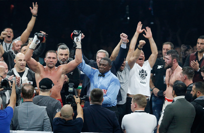 Pulev celebrates the points win in front of a home crowd.