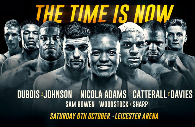 Saturday night round up of Frank Warren Promotions The Time Is Now Card.