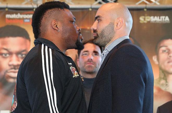 Miller-Dinu face off at presser. Photo Credit: BoxingScene.com