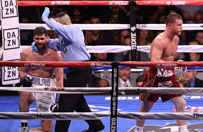Canelo stops Rocky Fielding in round 3. Photo Credit: Bloody Elbow
