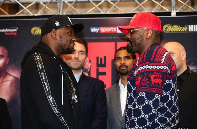 Whyte-Chisora face off at yesterday's Press Conference. Photo Credit: Boxing News