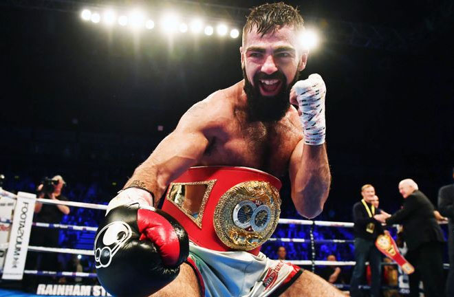 Jono Carroll takes on former European Champion Guillaume Frenois. Photo Credit: Sky Sports