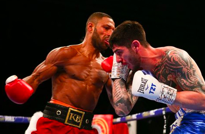 Kell Brook landing some body shots onto Michael Zerafa but was unable to break him down.