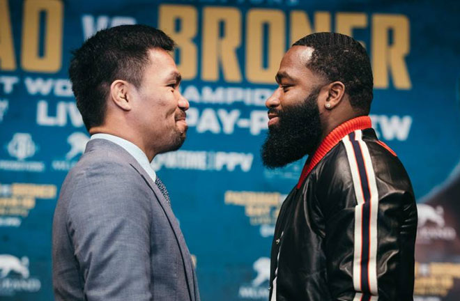 Pacquiao-Broner face off. Photo Credit: Sporting News