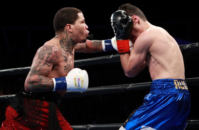 Davis dropped Hugo Ruiz in the the first round. Photo Credit: Boxing Scene