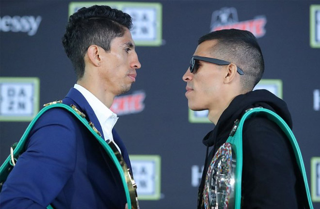 Vargas-Manzanilla face off at Press Conference. Photo Credit: Boxing Scene