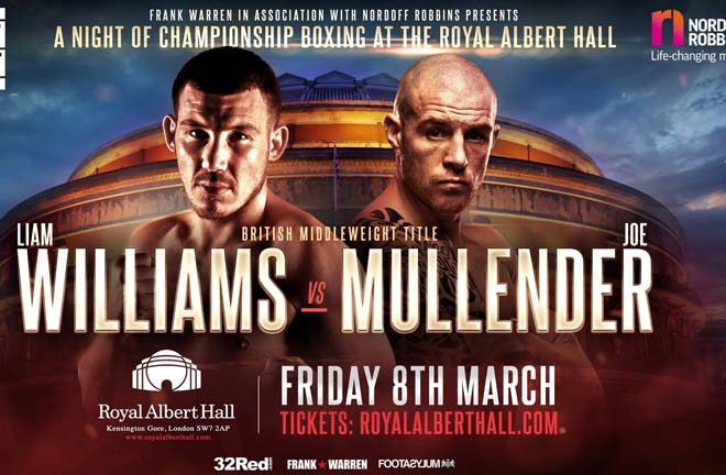 Mullender challenges Liam Williams for the British middleweight title. Photo Credit: Frank Warren