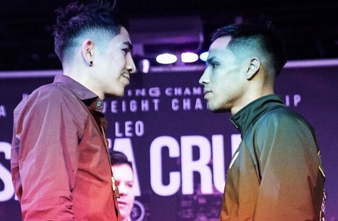 Santa Cruz-Rivera face off. Photo Credit: Boxing Scene