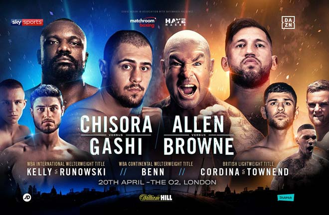 Allen vs Browne/Chisora vs Gashi heavyweight double header. Credit: Matchroom Boxing