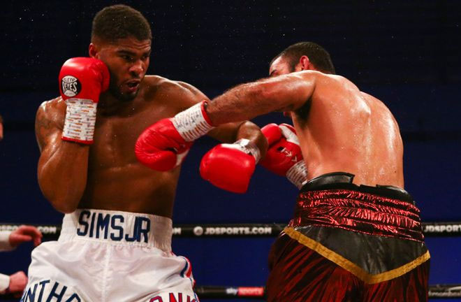Anthony Sims secures stoppage win. Photo Credit: Sky Sports