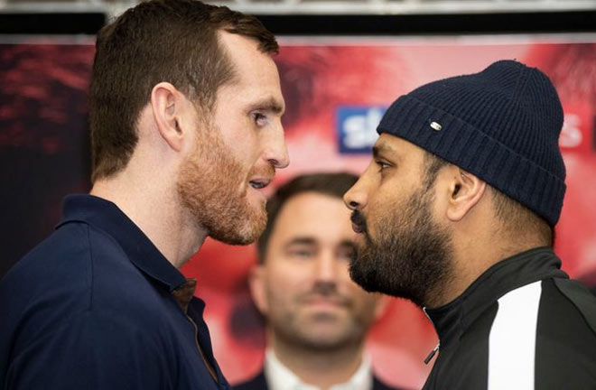 Price-Ali face off ahead of their fight this Saturday night. Credit: Sky Sports