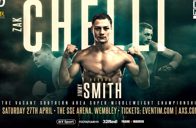 Zak Chelli challenges for his first professional title against Jimmy Smith. Credit: Frank Warren