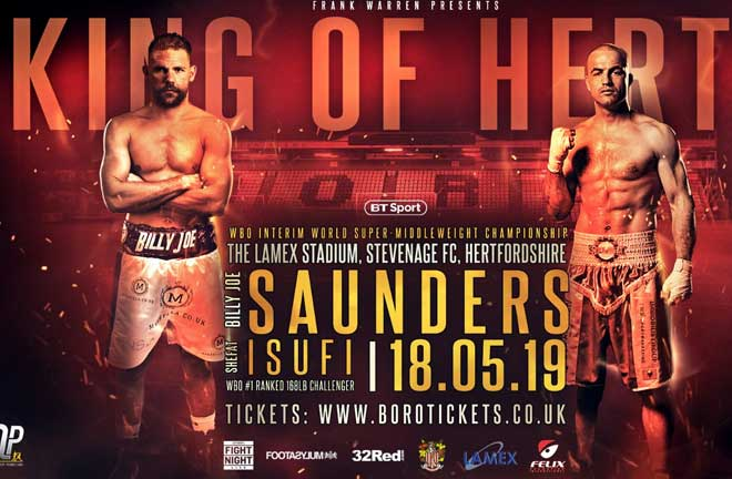 Billy Joe Saunders takes on Shefat Isufi on Saturday May 18. Credit: Frank Warren